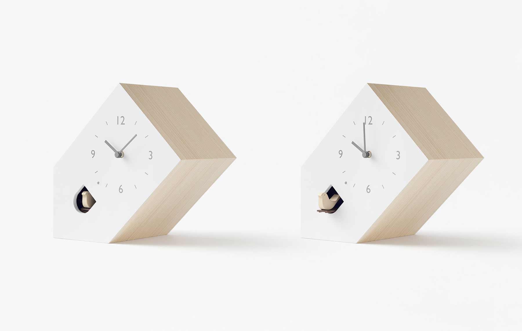 Modern-minimalistische Kuckucksuhren von Nendo