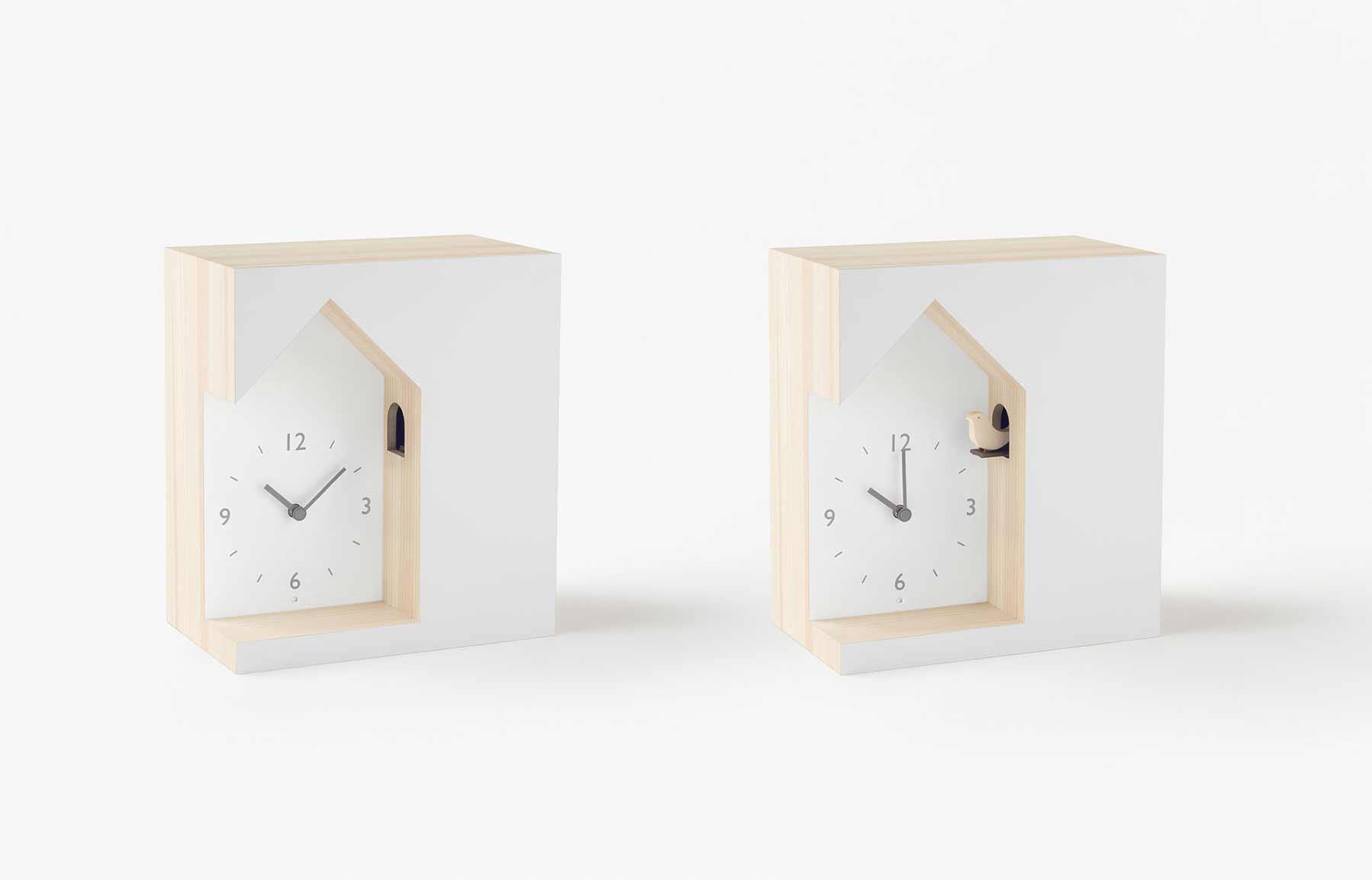 Modern-minimalistische Kuckucksuhren von Nendo nendo-minimalistische-kuckucksuhren_05