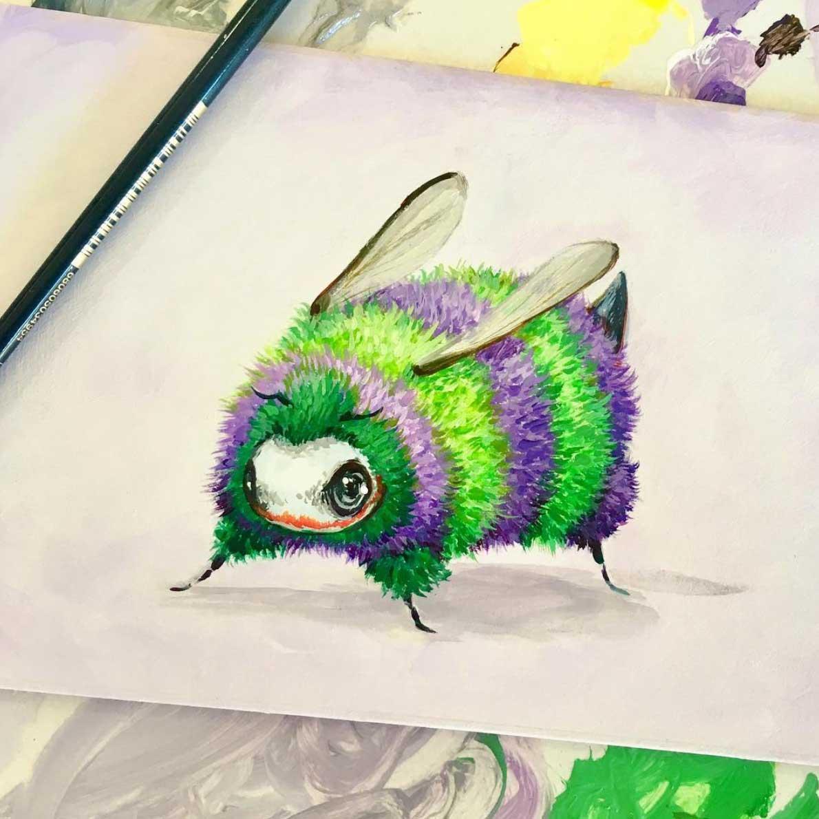 Als Bienen gemalte Popkulturfiguren
