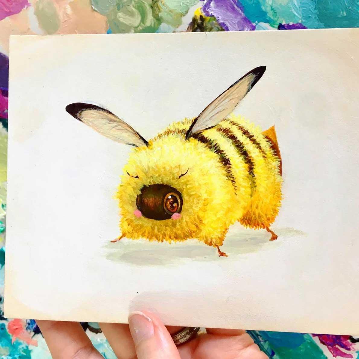 Als Bienen gemalte Popkulturfiguren popkulturbienen-von-Camilla-dErrico_02