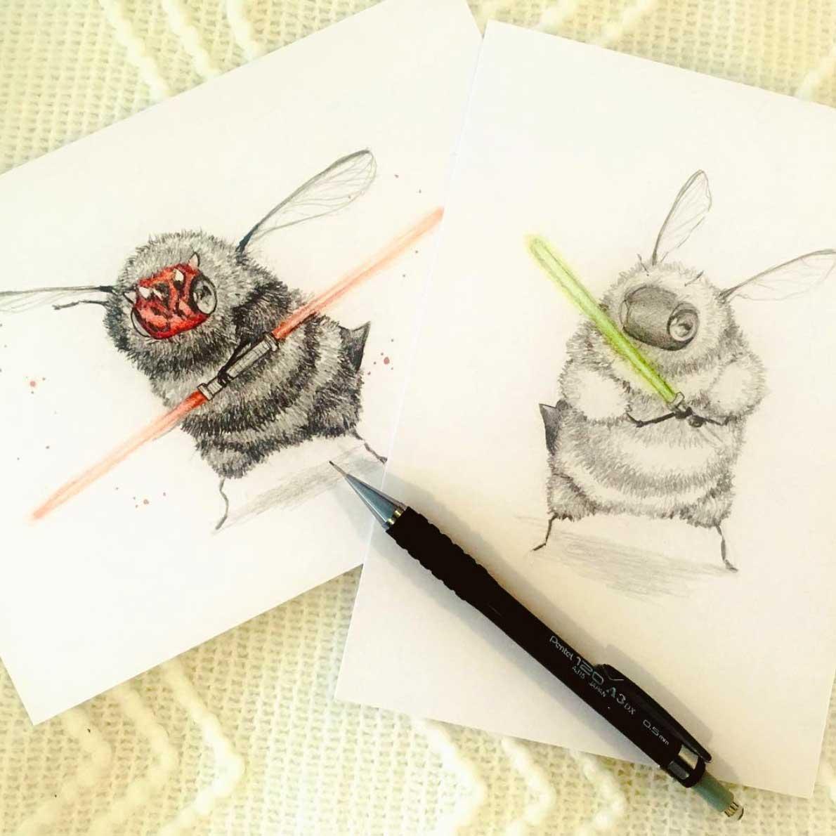 Als Bienen gemalte Popkulturfiguren popkulturbienen-von-Camilla-dErrico_05