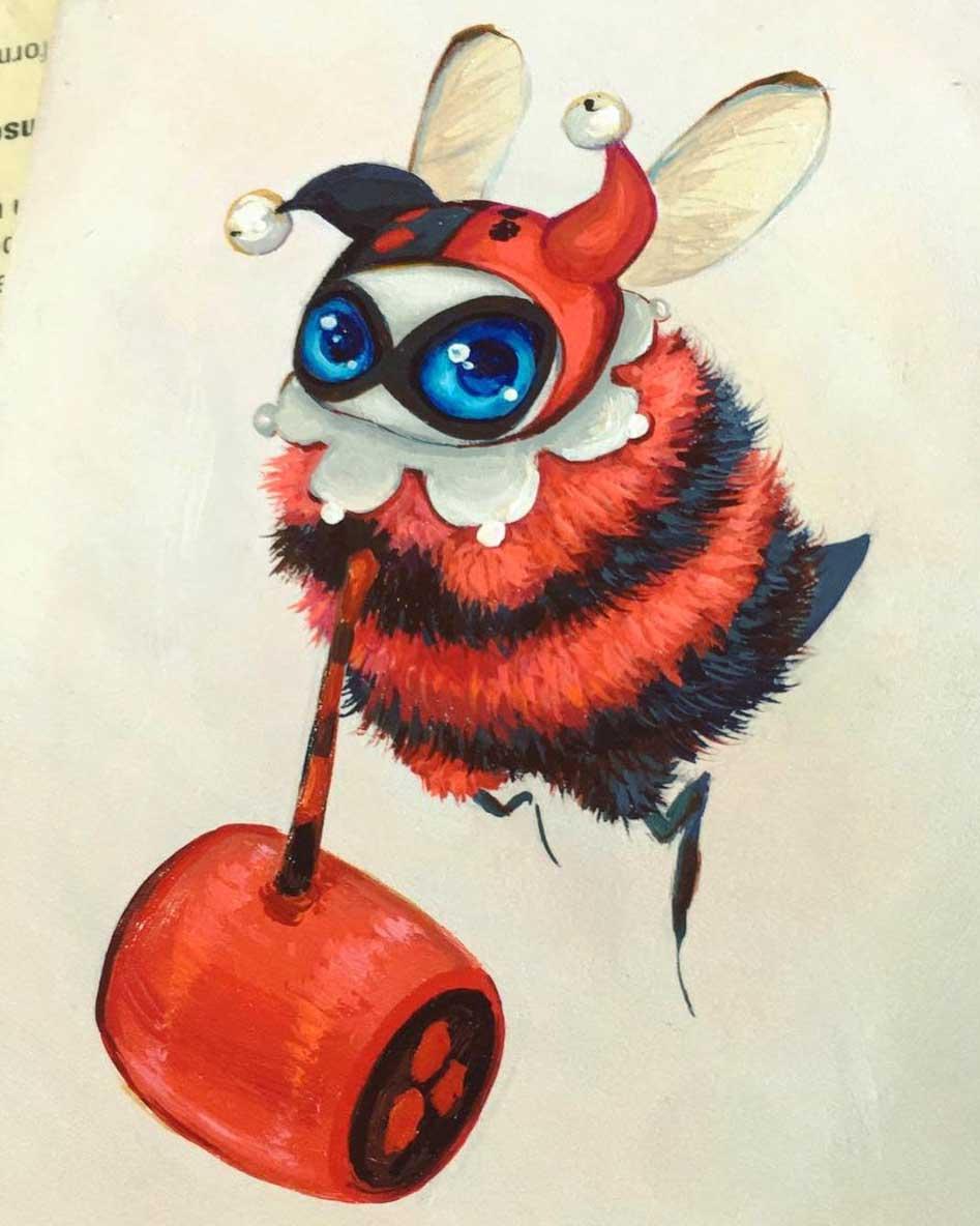 Als Bienen gemalte Popkulturfiguren popkulturbienen-von-Camilla-dErrico_07