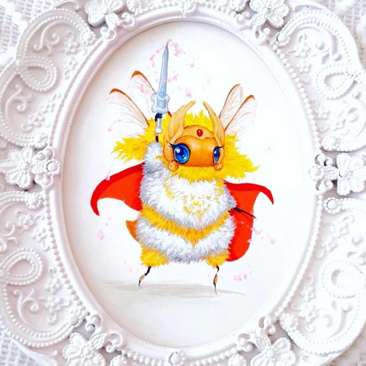 Als Bienen gemalte Popkulturfiguren popkulturbienen-von-Camilla-dErrico_08