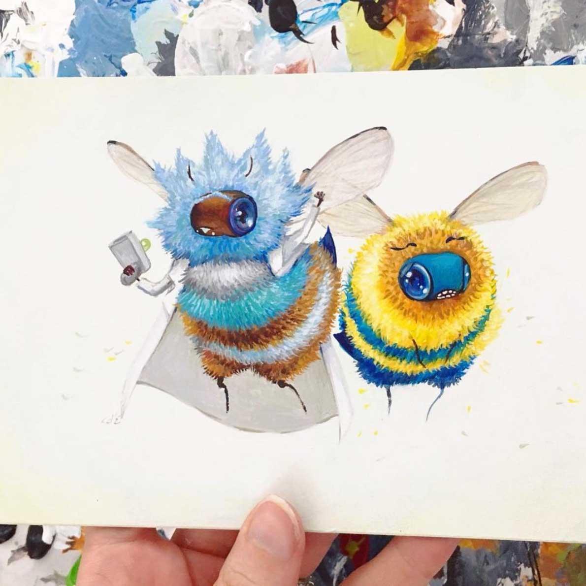 Als Bienen gemalte Popkulturfiguren popkulturbienen-von-Camilla-dErrico_09