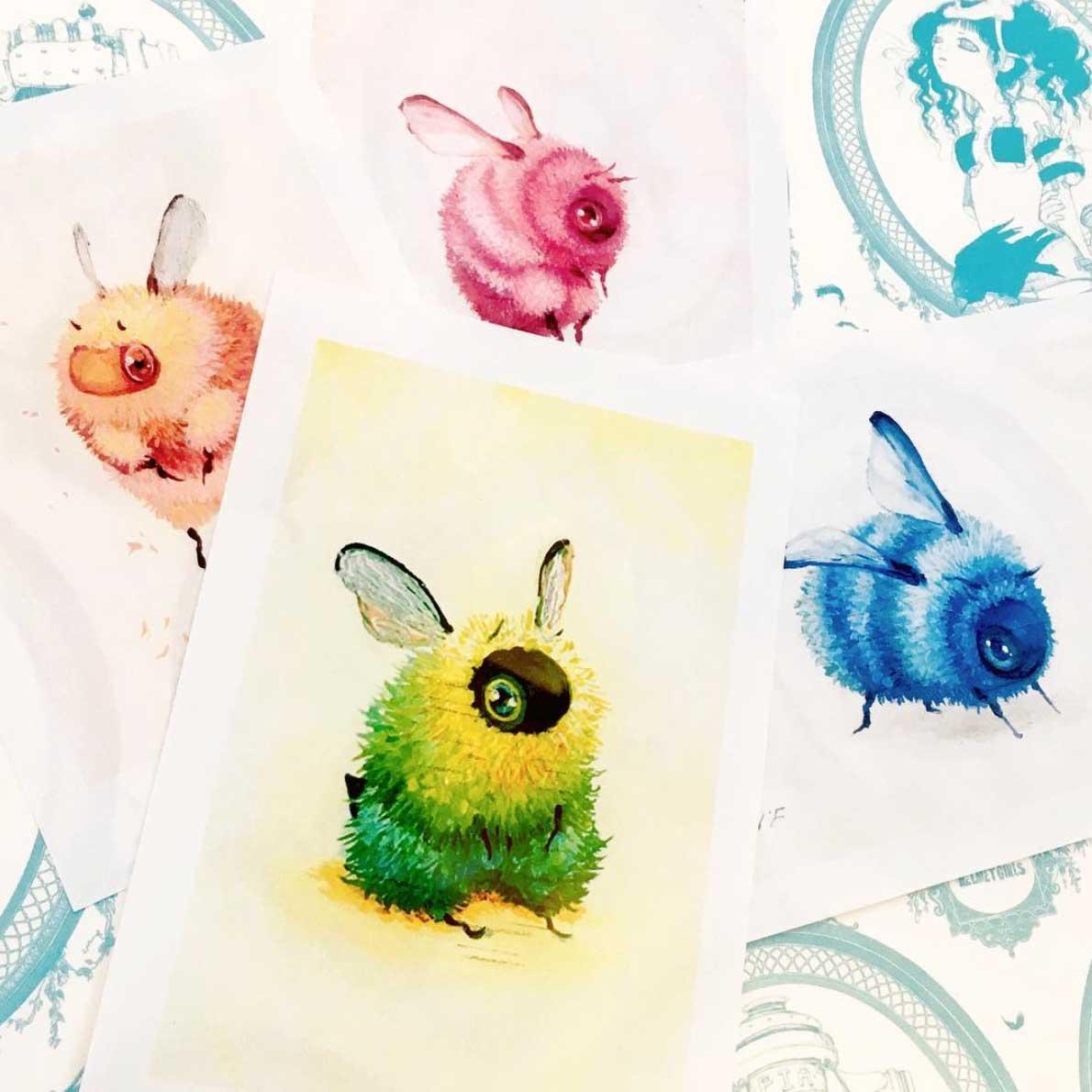 Als Bienen gemalte Popkulturfiguren popkulturbienen-von-Camilla-dErrico_12