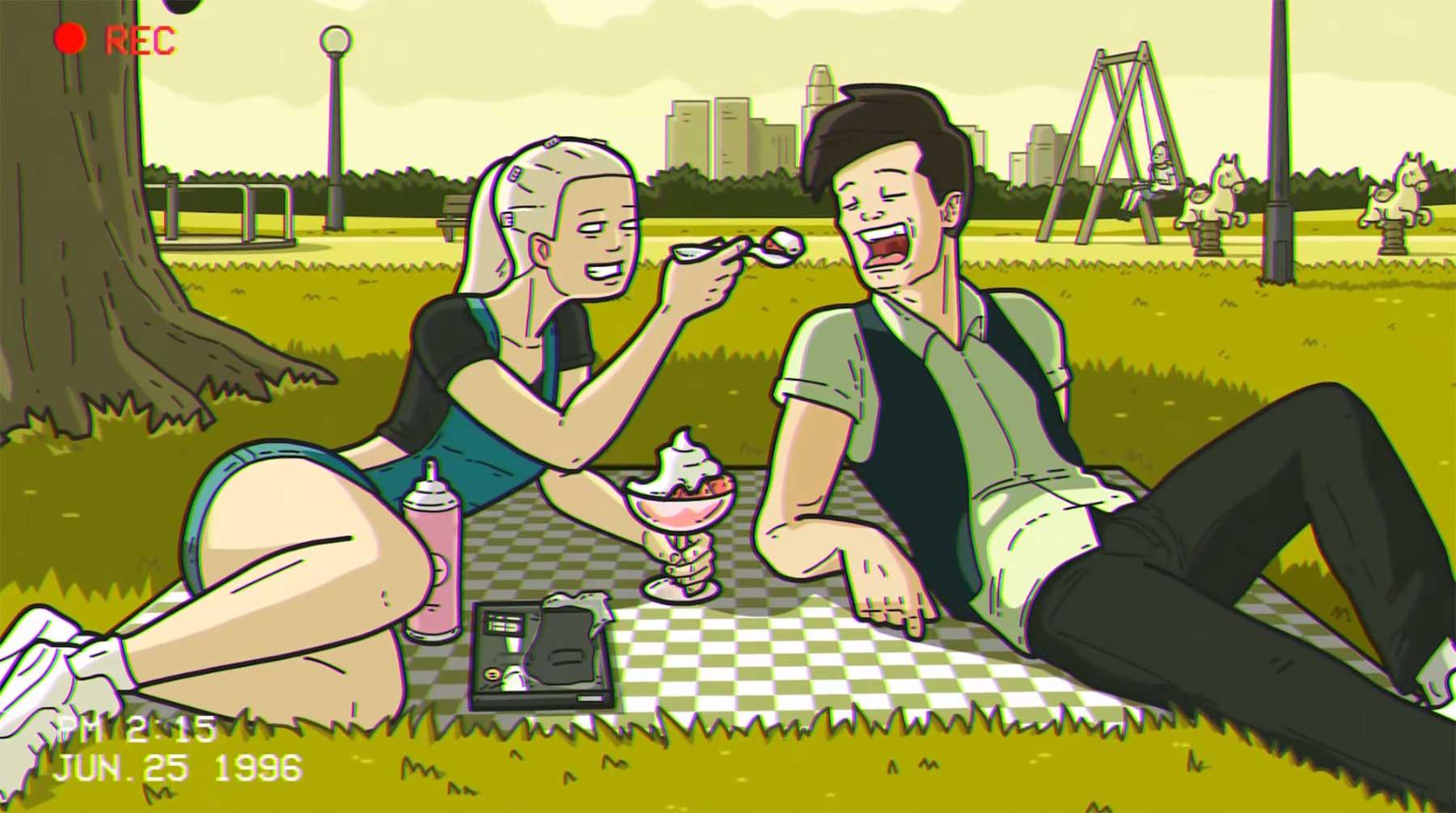 Leckerer Erdbeerbecher zum Picknick