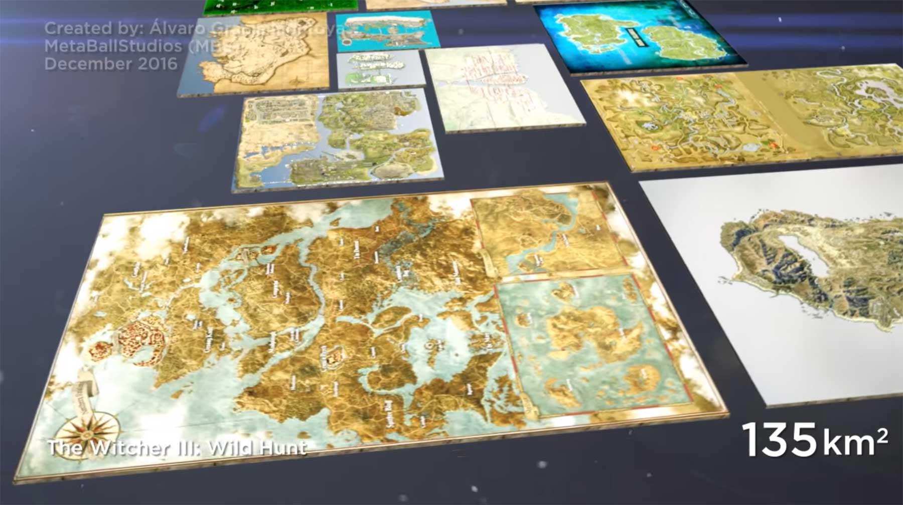 Maps aus Videospielen nach Größe sortiert