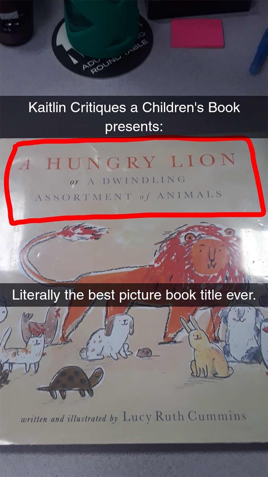 Erwachsene rezensiert Kinderbuch auf erfrischende Art A-Hungry-Lion-or-A-Dwindling-Assortment-of-Animals_01