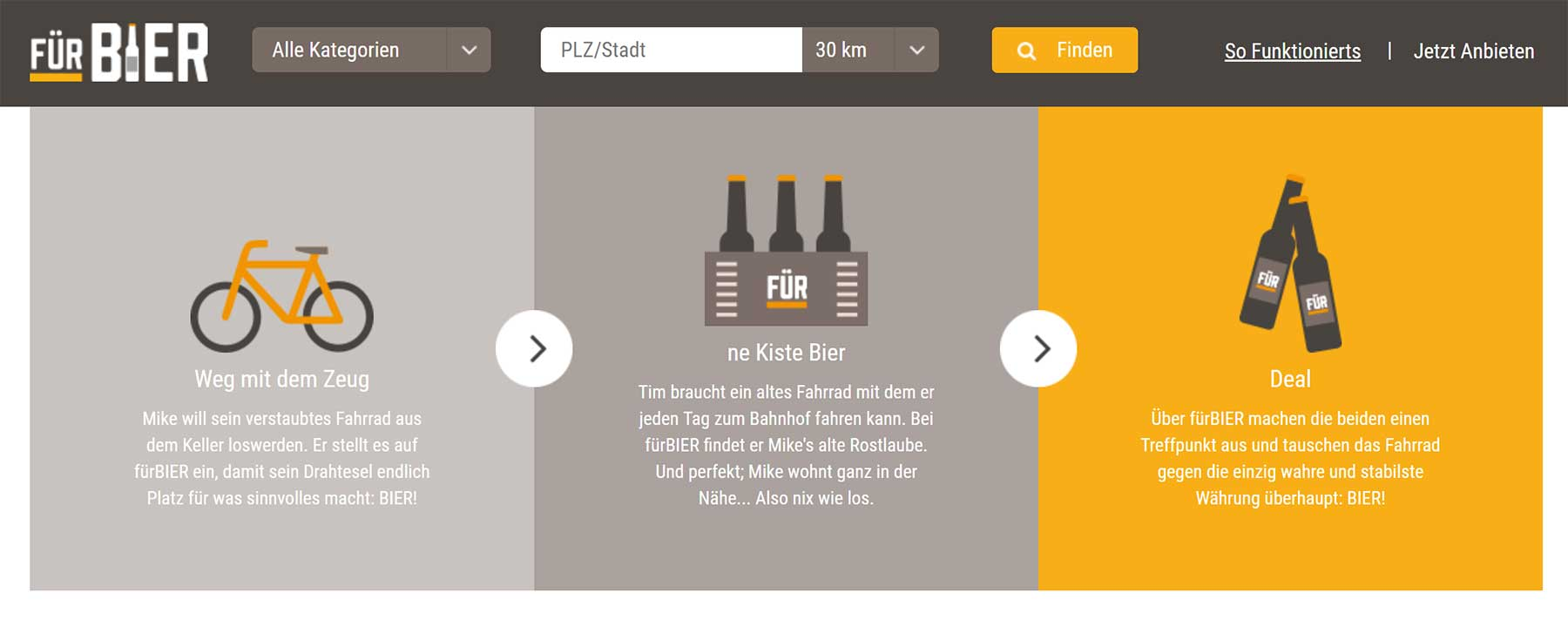 Auf fürBier.de kann man alten Kram gegen Bier eintauschen