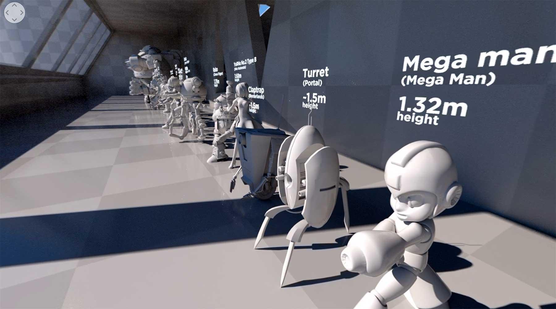 Videospielroboter nach Größe sortiert