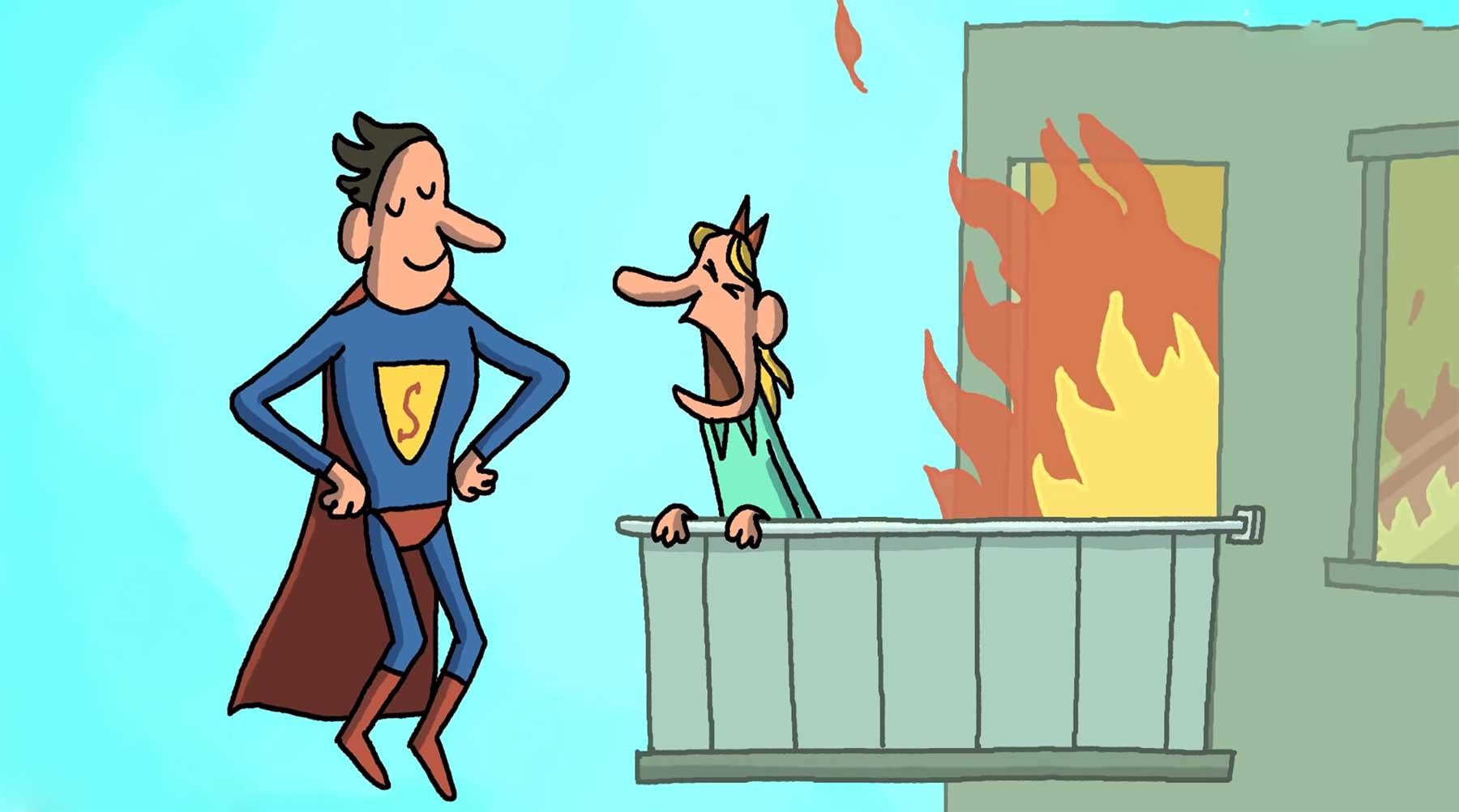 Superman und das brennende Hochhaus superman-cartoon-sketch-brennendes-haus