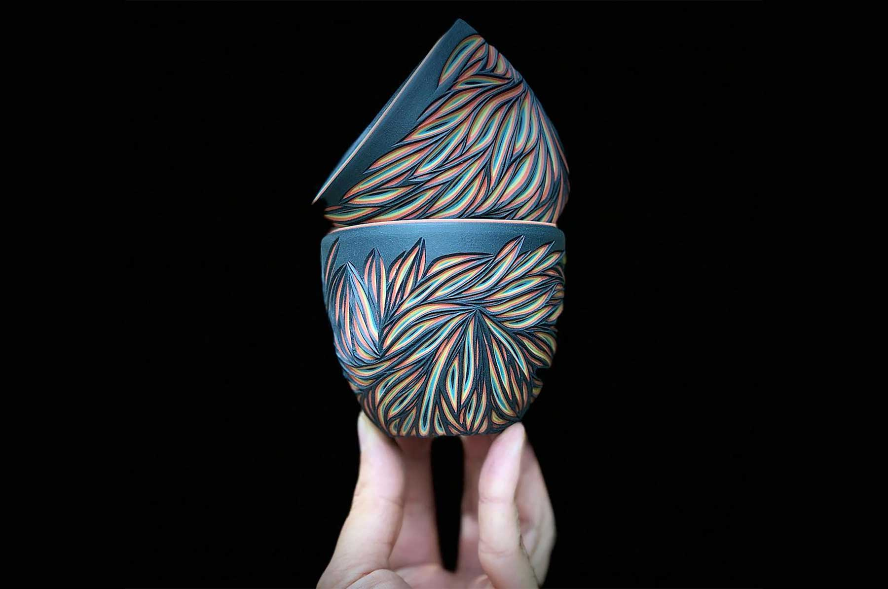 Vielschichtige Vasen-Schnitzer
