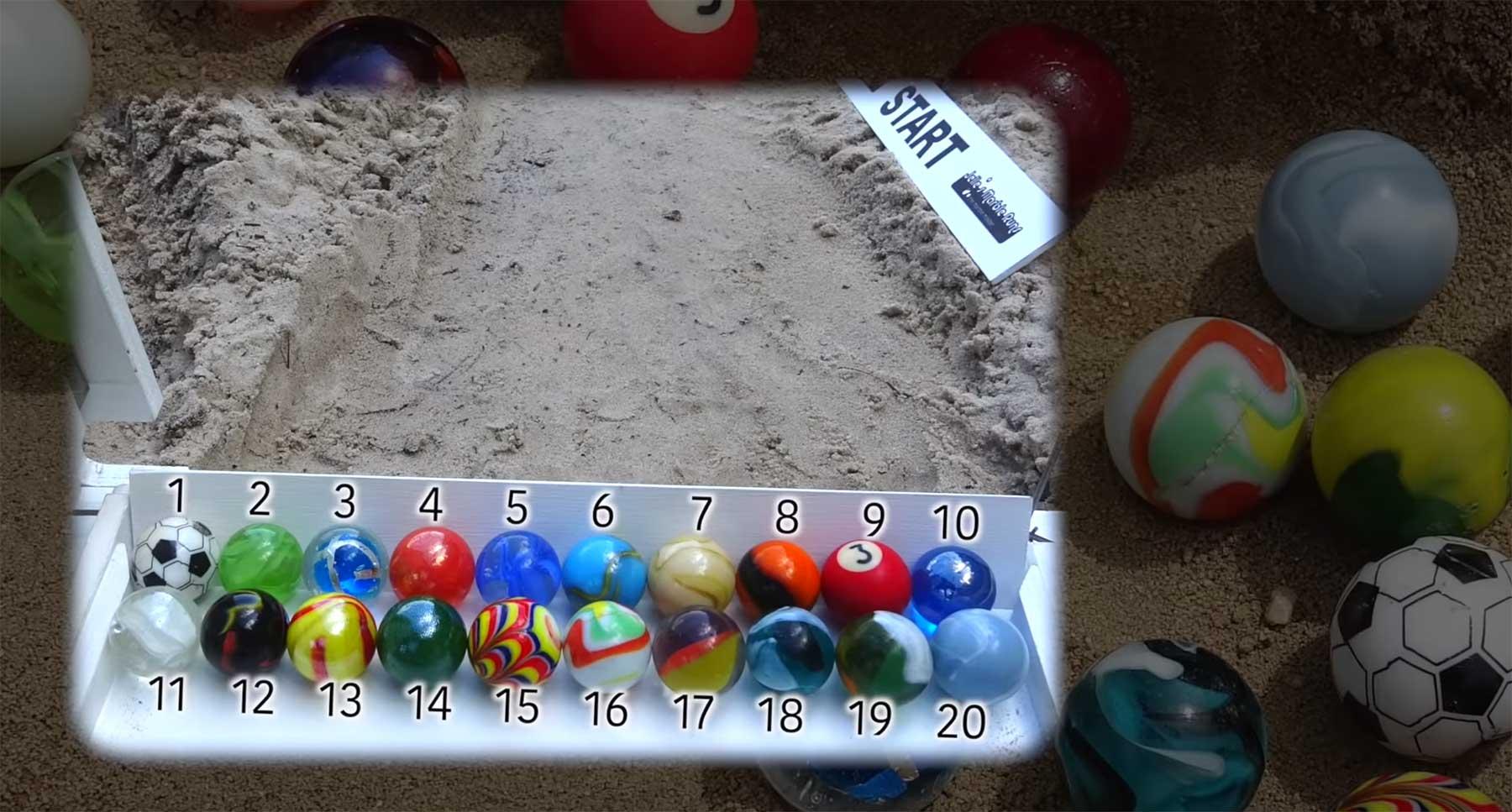 Auf welchem Platz kommt deine Murmel ins Ziel? sand-marble-race-2018