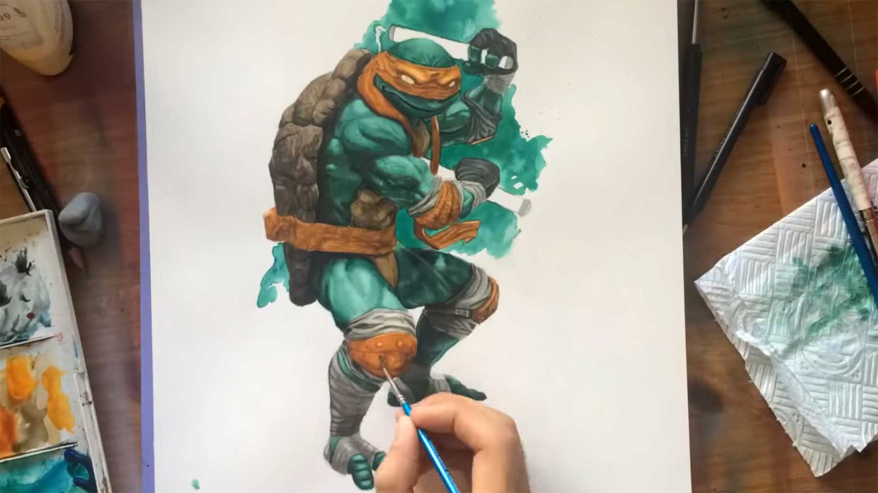 Speedpainting Michelangelo speedpainting-michaelangelo-turtles-watercolor