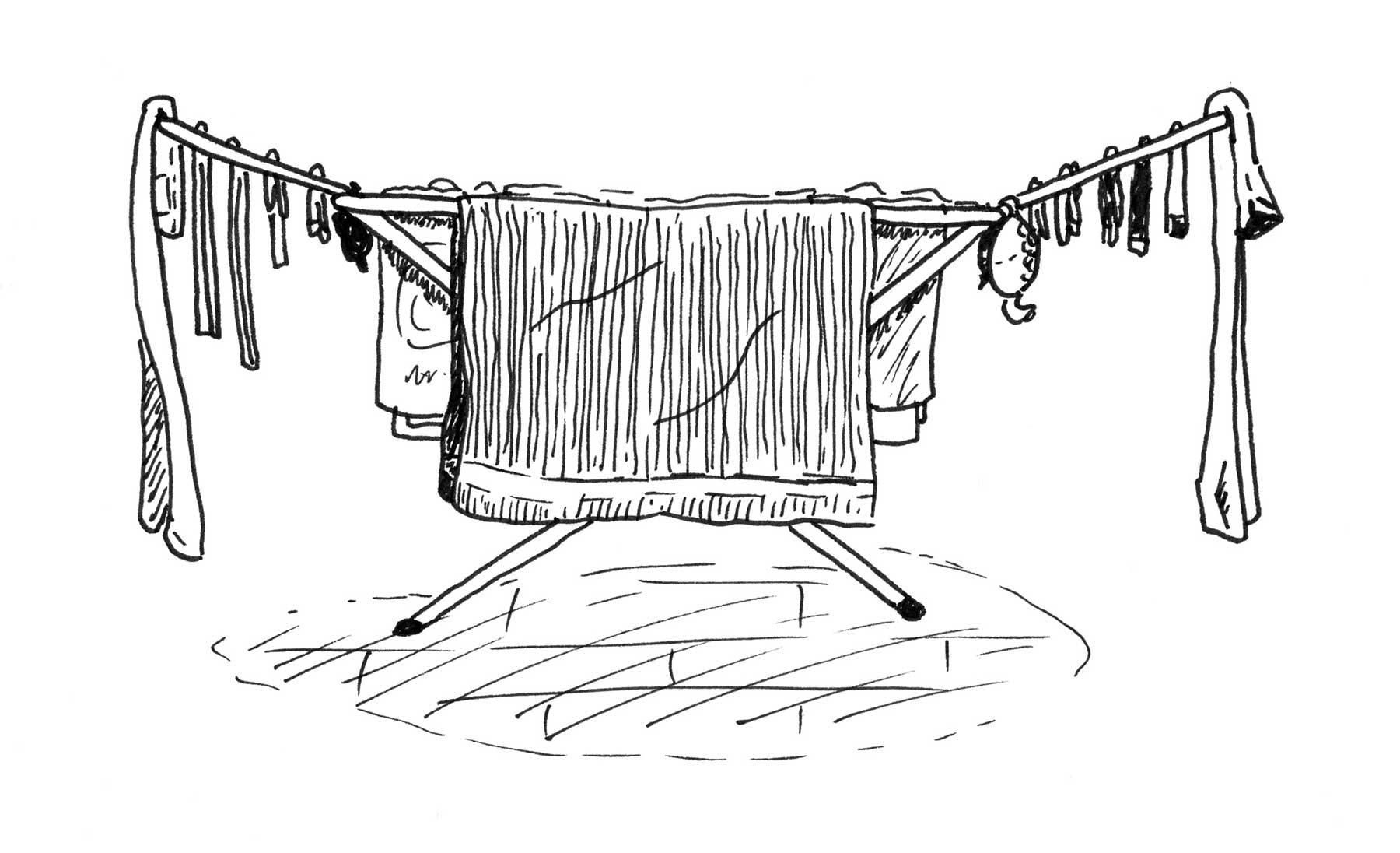 Das ist die optimale Art, einen Wäscheständer zu behängen