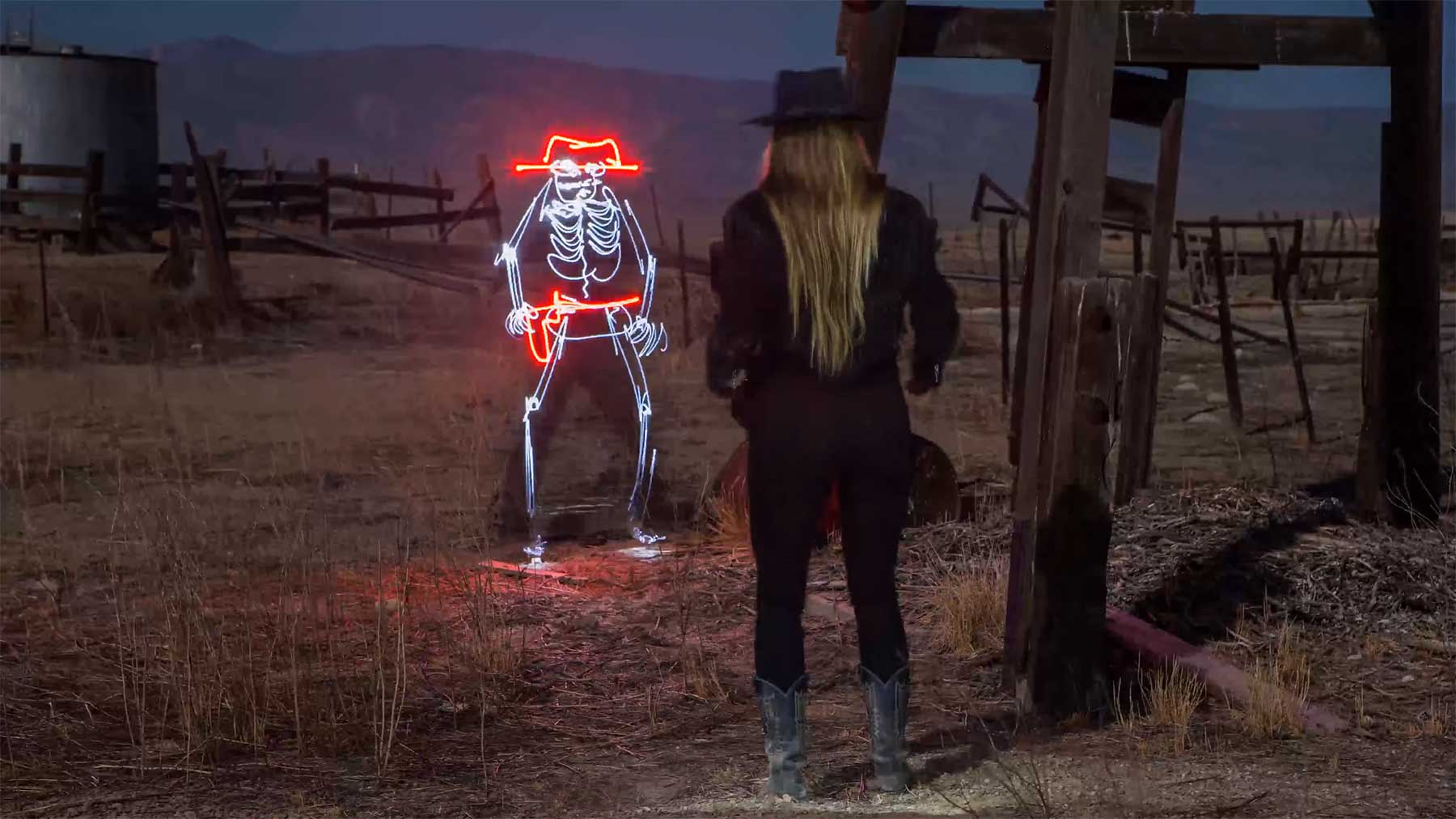 Im Duell mit einem Licht-Cowboy Light-Duel