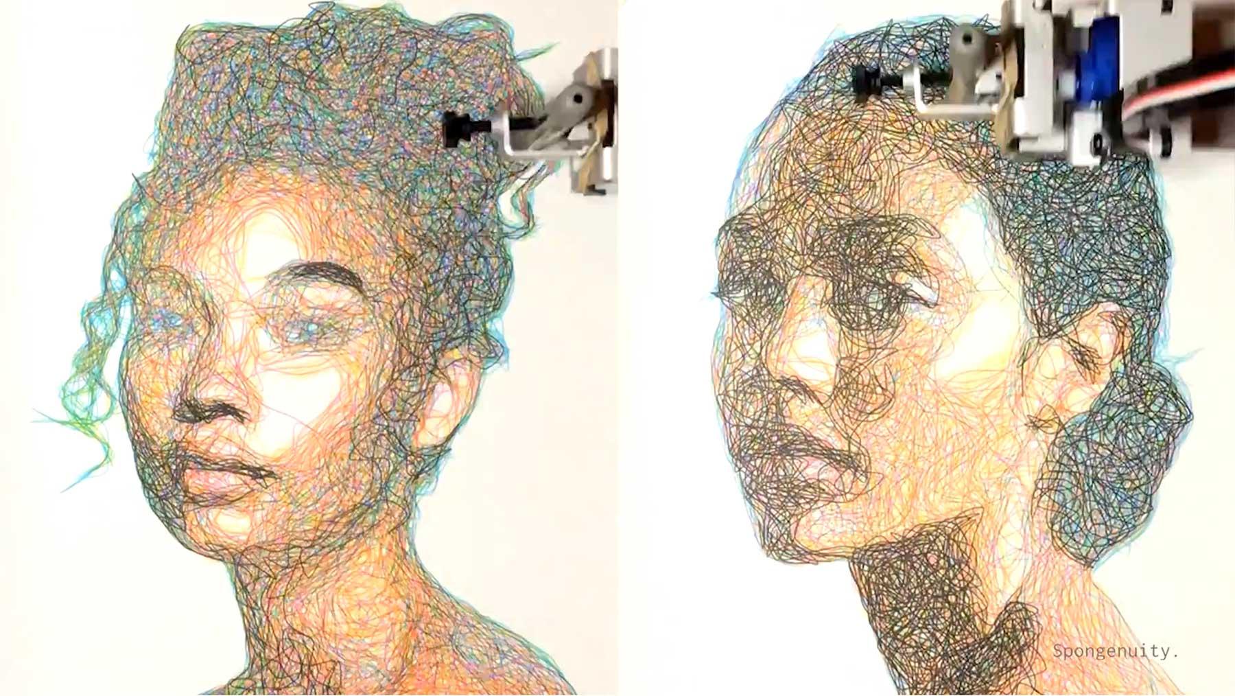 Roboter malt CMYK-Portraits auf Basis von Algorithmen roboter-malt-cmyk-portraits