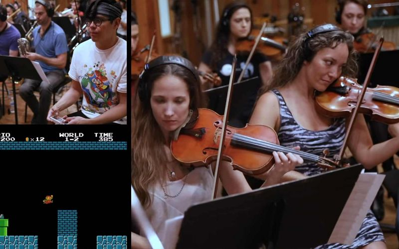 Super Mario spielen, während ein Orchester den Soundtrack liefert