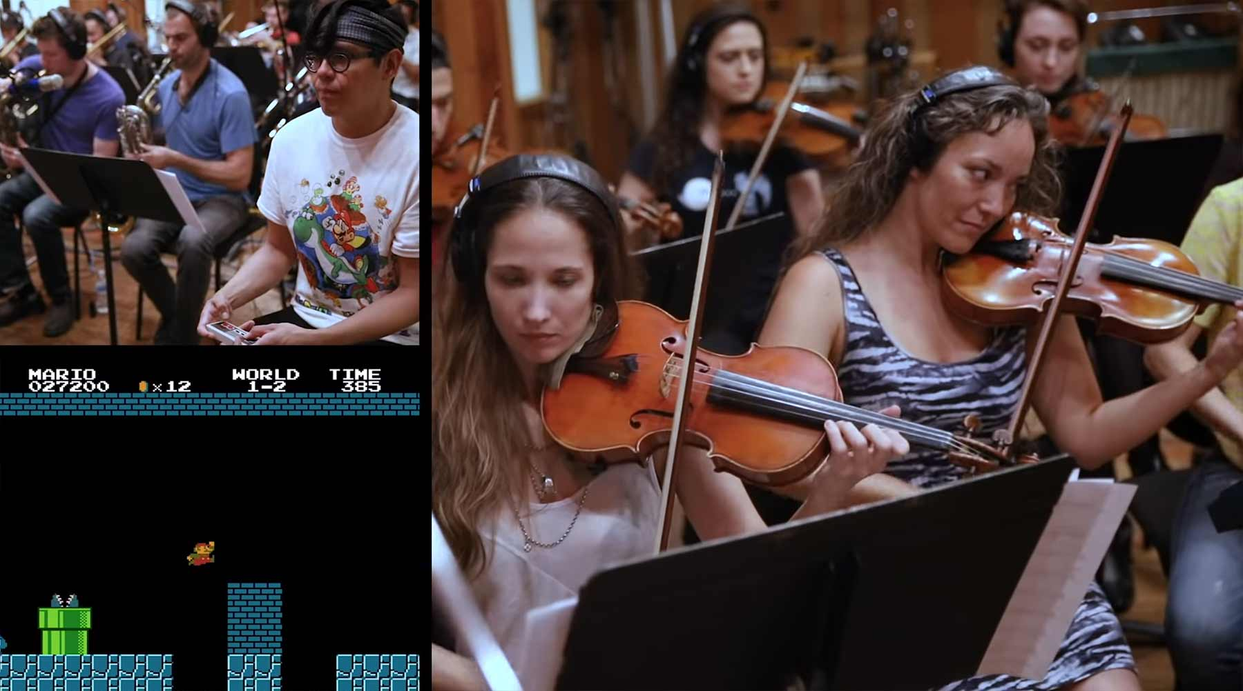Super Mario spielen, während ein Orchester den Soundtrack liefert super-mario-bros-mit-orchester-soundtrack