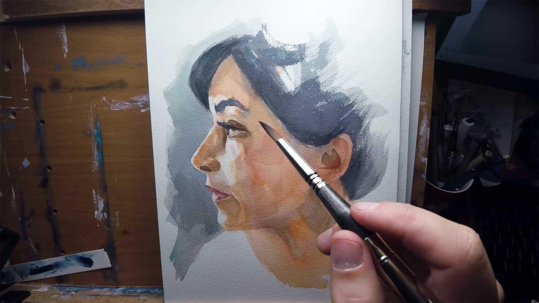Khasis Lieb malt uns ein Wasserfarb-Portrait