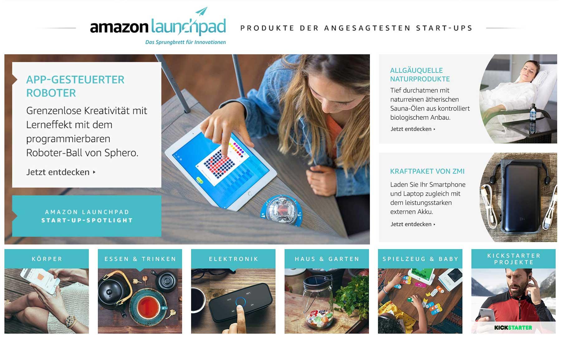 """Meine Produkt-Empfehlungen aus den """"Amazon Storefronts"""" amazon-launchpad"""