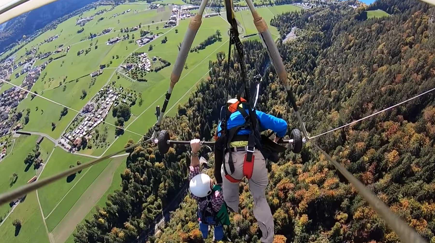 Mann ist bei erstem Hang-Glider-Flug nicht gesichert