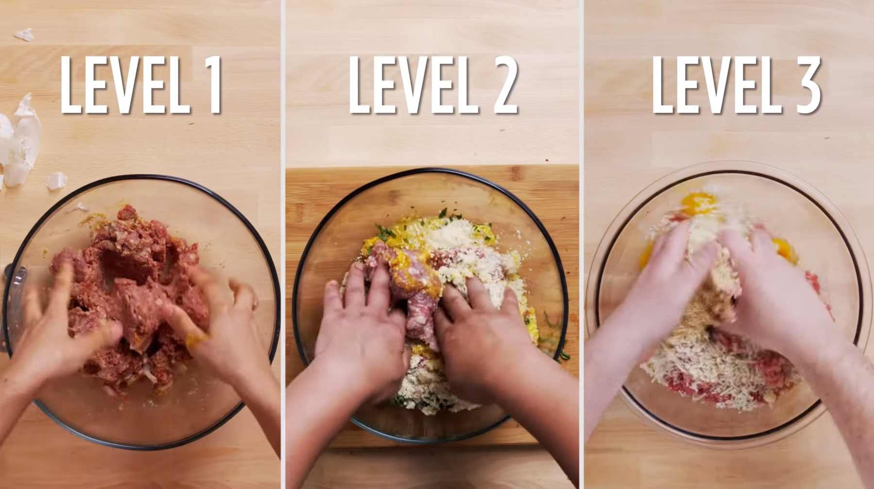 Köche unterschiedlicher Fähigkeitsgrade machen Spaghetti mit Fleischklößen spaghetti-kochen-amateur-vs-profi