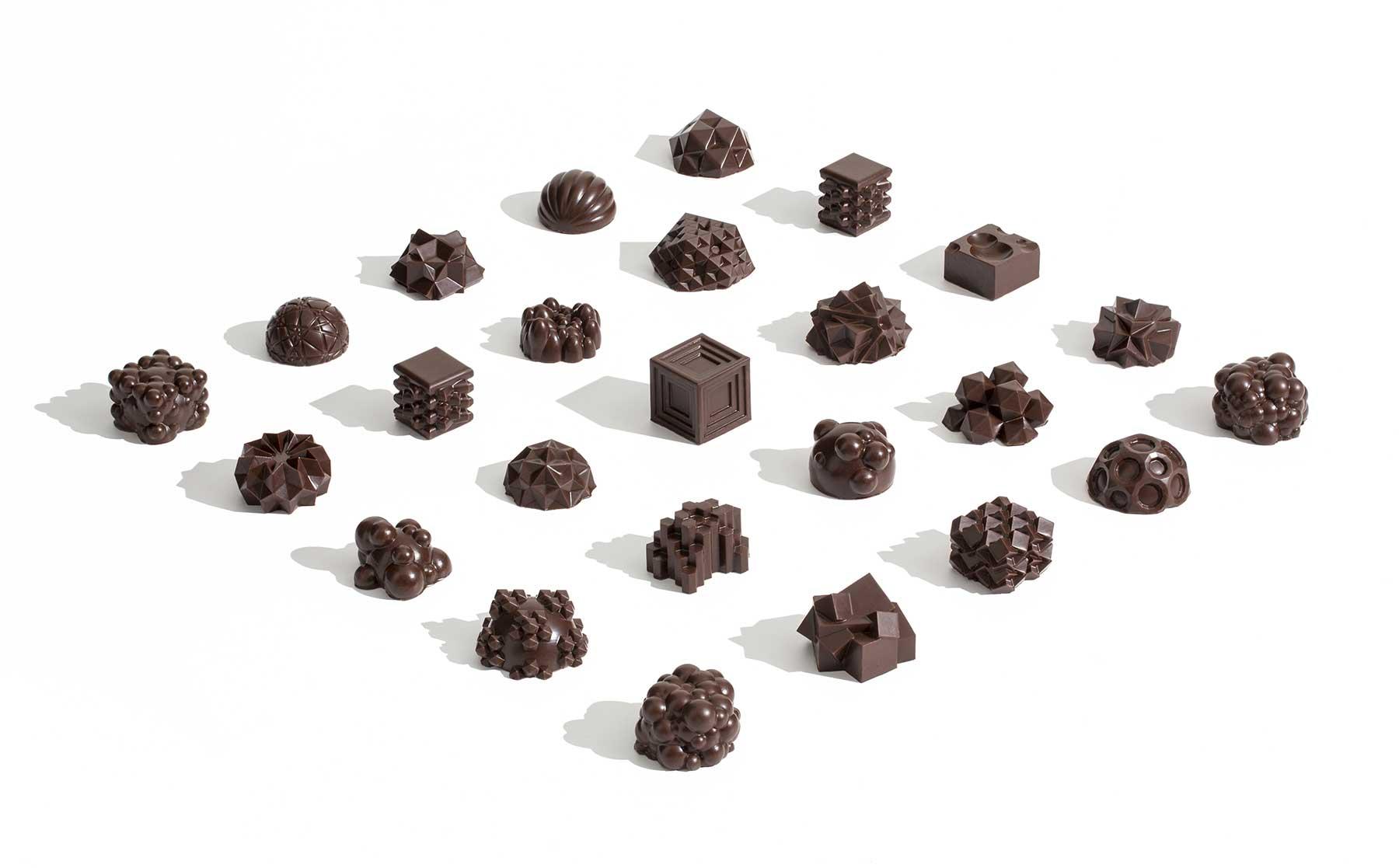 3D-gedruckte Schokoladen-Miniaturskulpturen