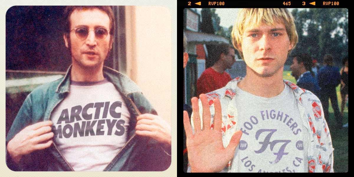 Alte Musik-Ikonen tragen Bandshirts moderner Acts Reversed-Music-Icons-Fandom_00