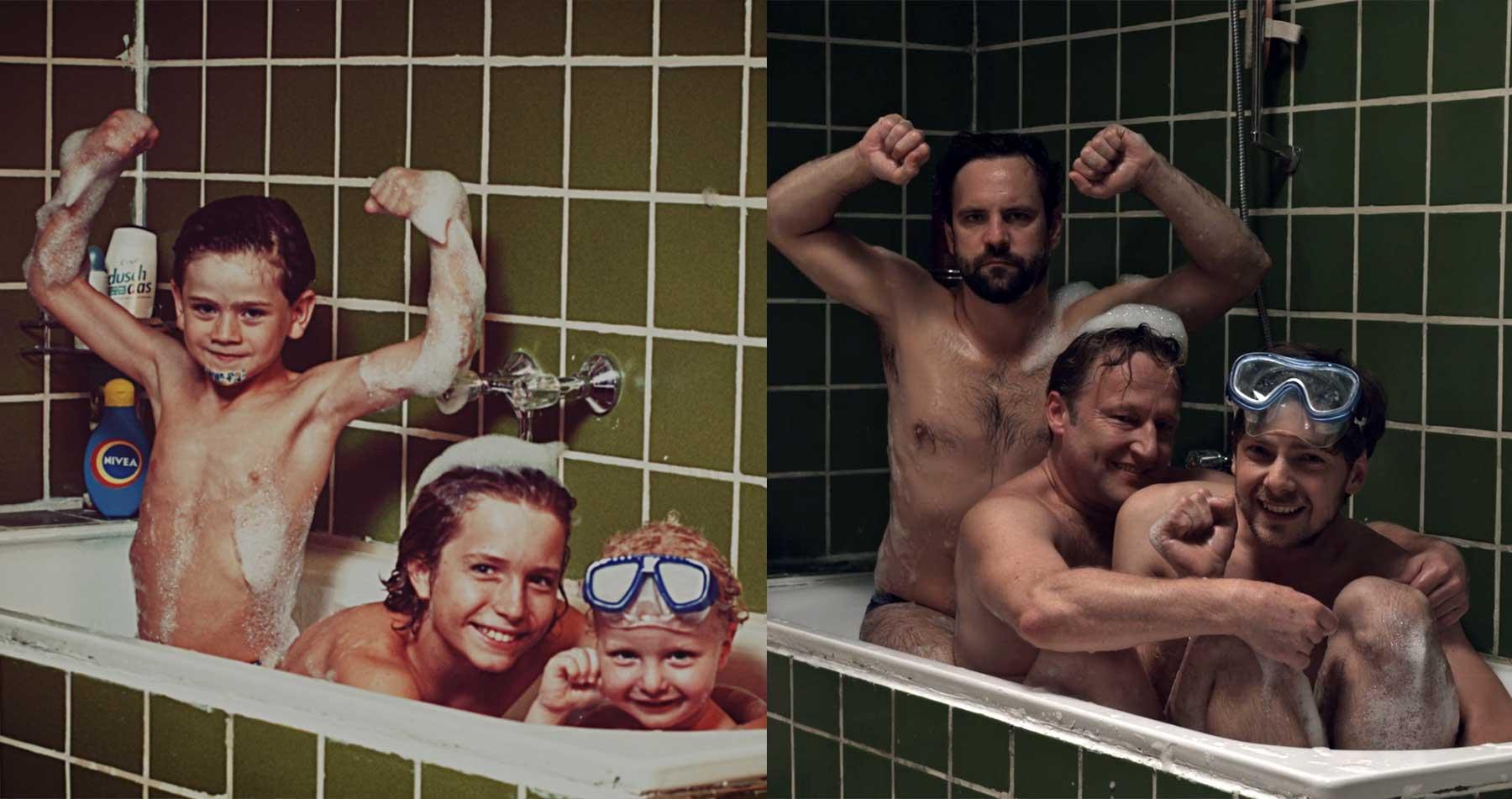 Kinderfoto-Nachstellungs-Versuch als Kurzfilm die-badewanne-kurzfilm