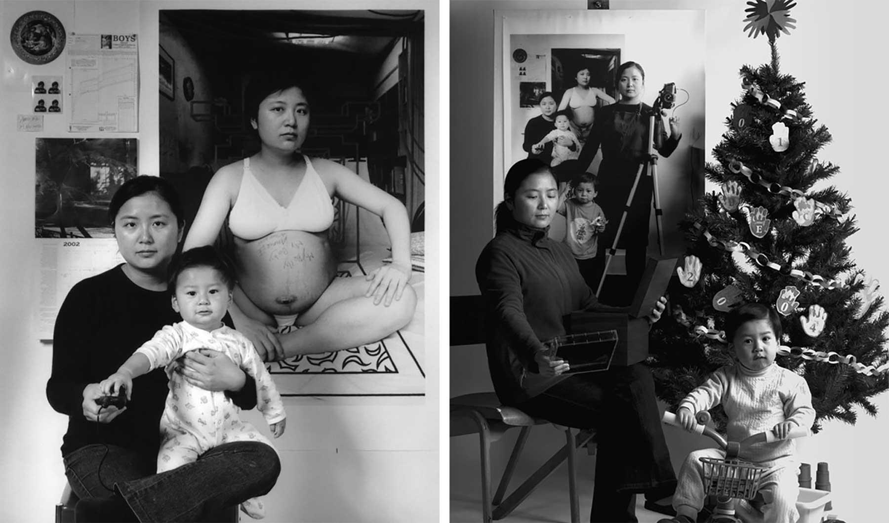 Mutter fügt 17 Jahre Bildebenen hinzu, die Sohn aufwachsen zeigen