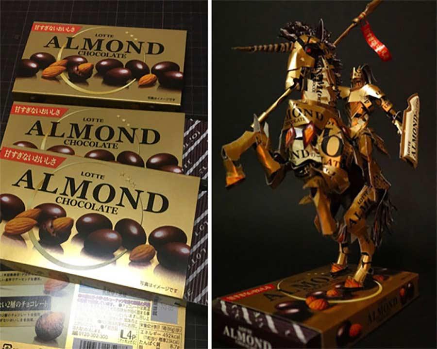 Skulpturen aus Süßigkeitenverpackungen Kirigami-von-Haruki_09