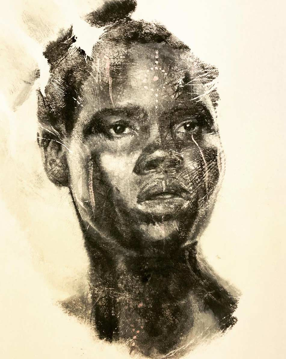 Russell Powell malt seine Hand an und stempelt damit Bilder Russell-Powell-hand-art_03