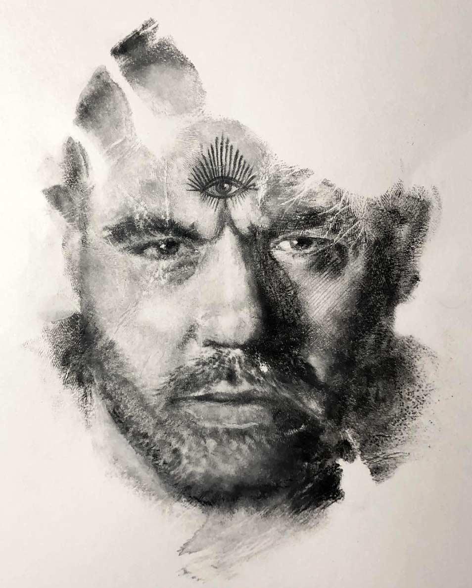 Russell Powell malt seine Hand an und stempelt damit Bilder Russell-Powell-hand-art_07