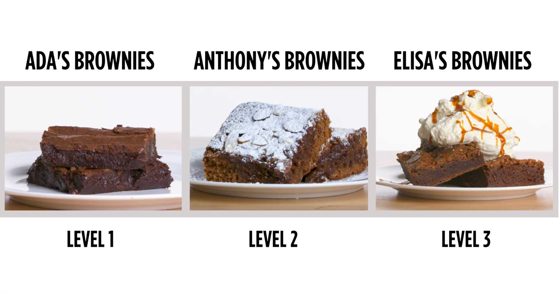 Köche unterschiedlicher Fähigkeitsgrade machen Brownies brownies-vier-level