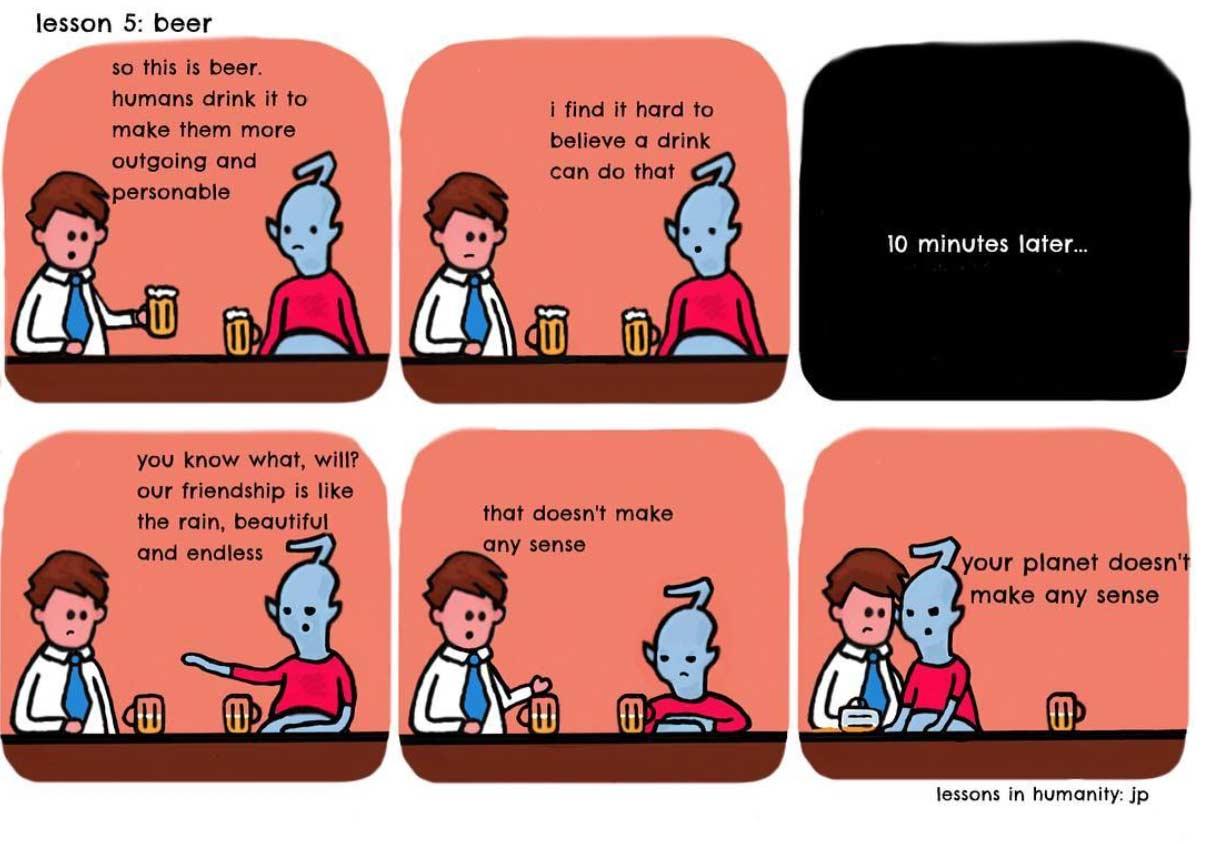 Einem Alien menschliches Verhalten erklären lessons-in-humanity-webcomic_01