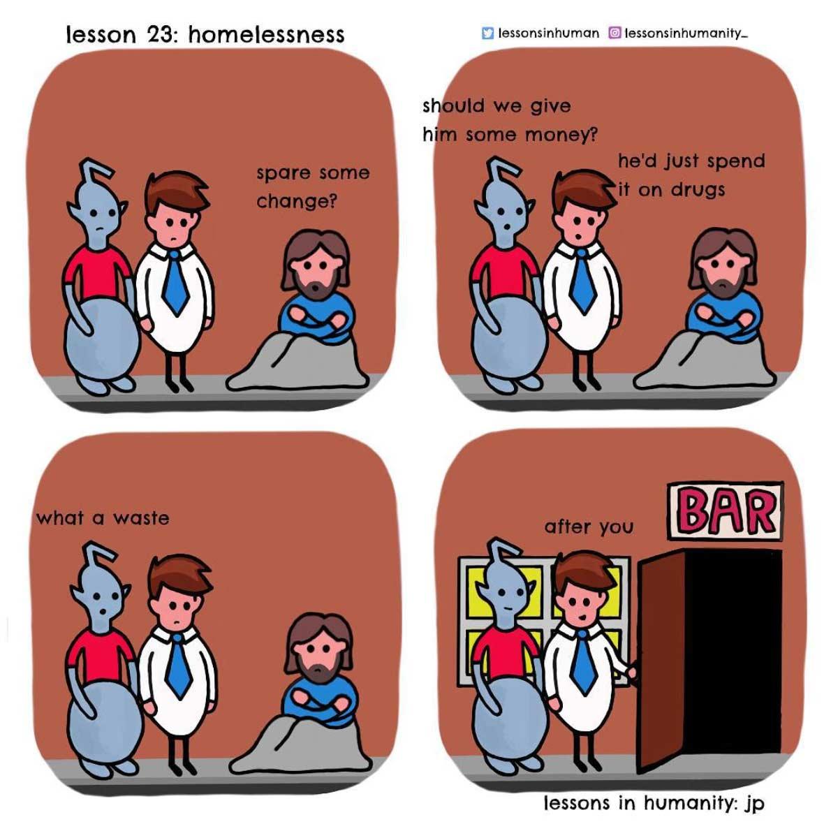 Einem Alien menschliches Verhalten erklären lessons-in-humanity-webcomic_08