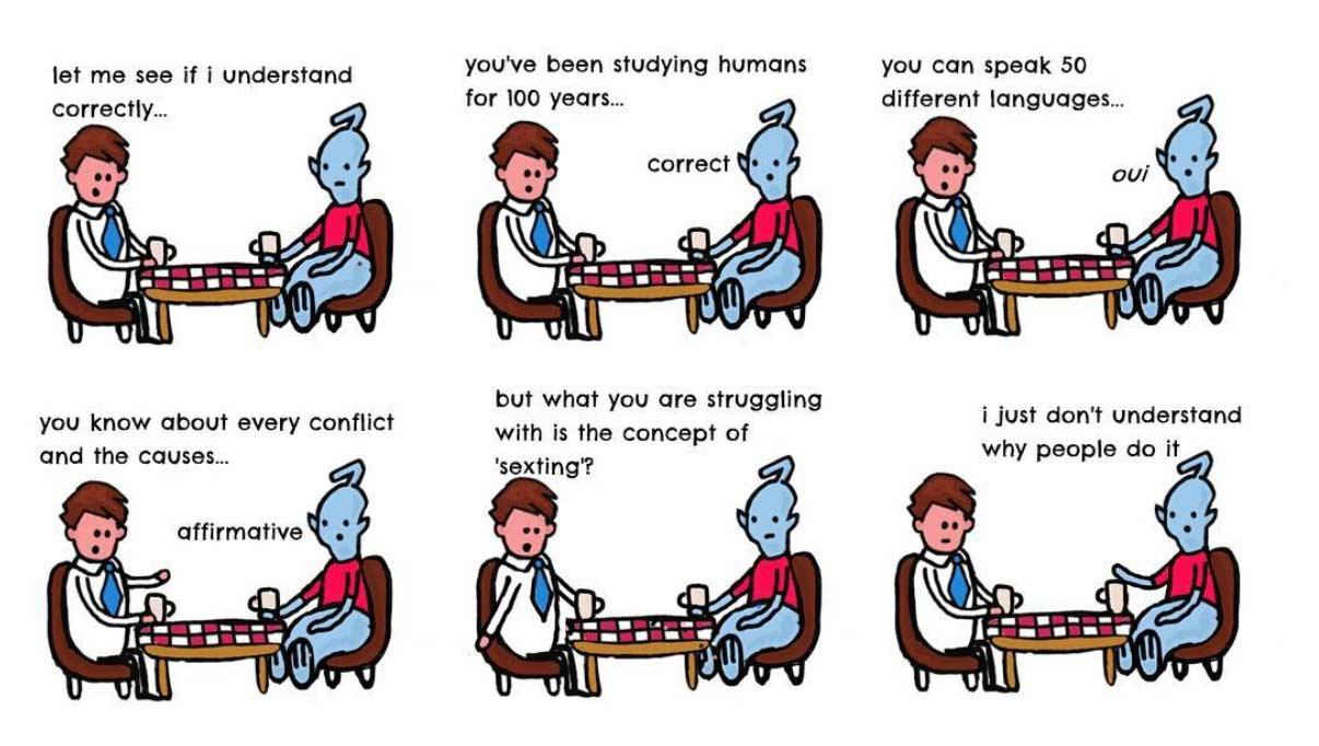 Einem Alien menschliches Verhalten erklären lessons-in-humanity-webcomic_09