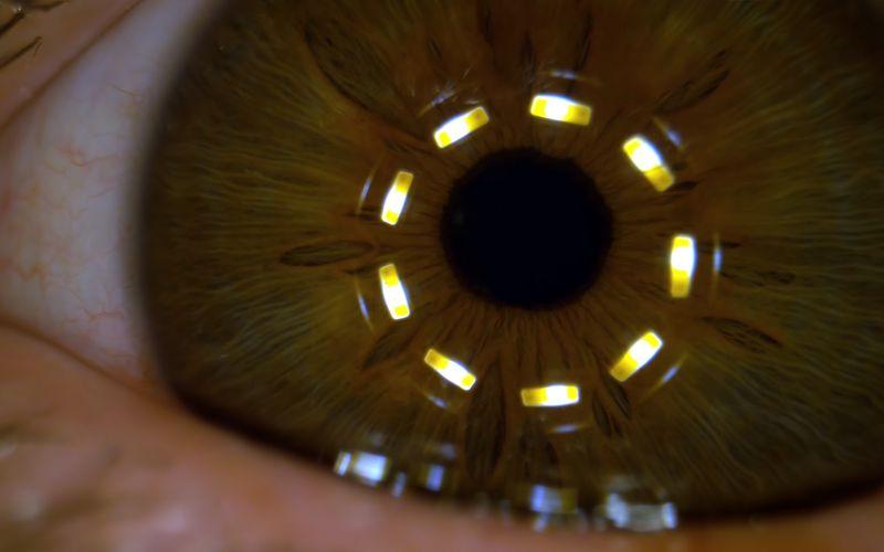 Makro-Superzeitlupe einer sich zusammenziehenden Pupille