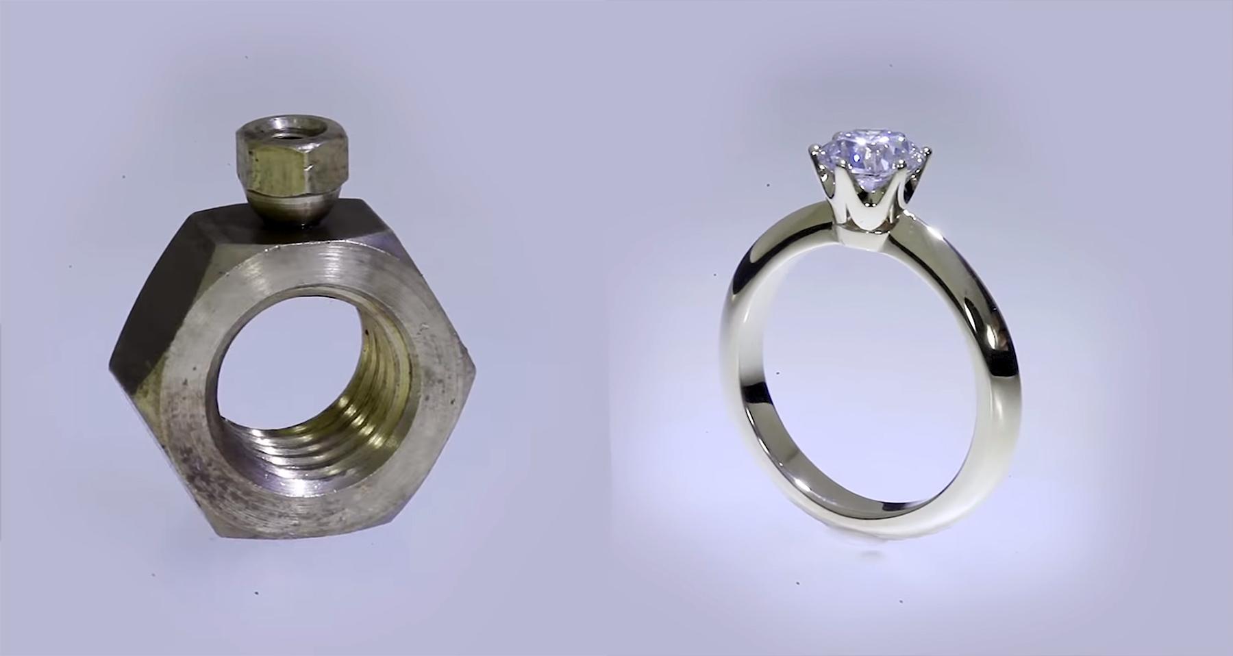 Aus zwei Schraubenmuttern einen Diamantring bauen