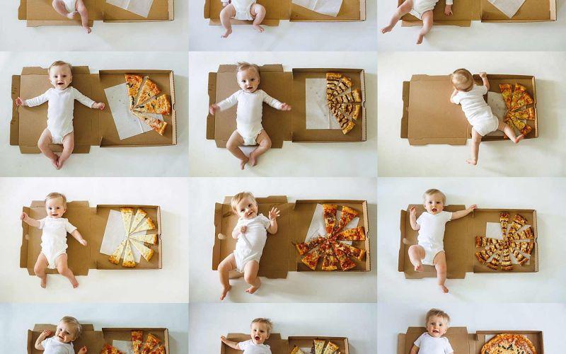 Baby-Wachstum monatlich mit Pizzastücken dokumentiert