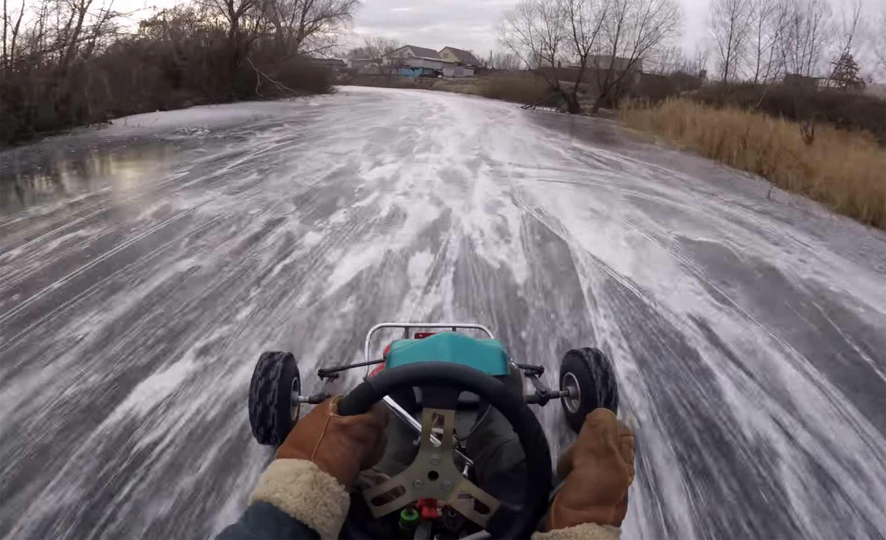 Ice Kart auf zugefrorenem Fluss fahren