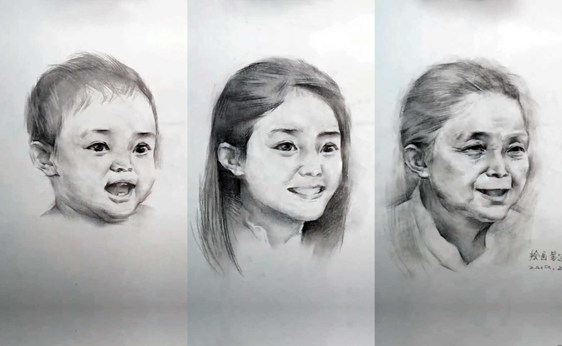 Gezeichnete Portraits altern binnen Sekunden