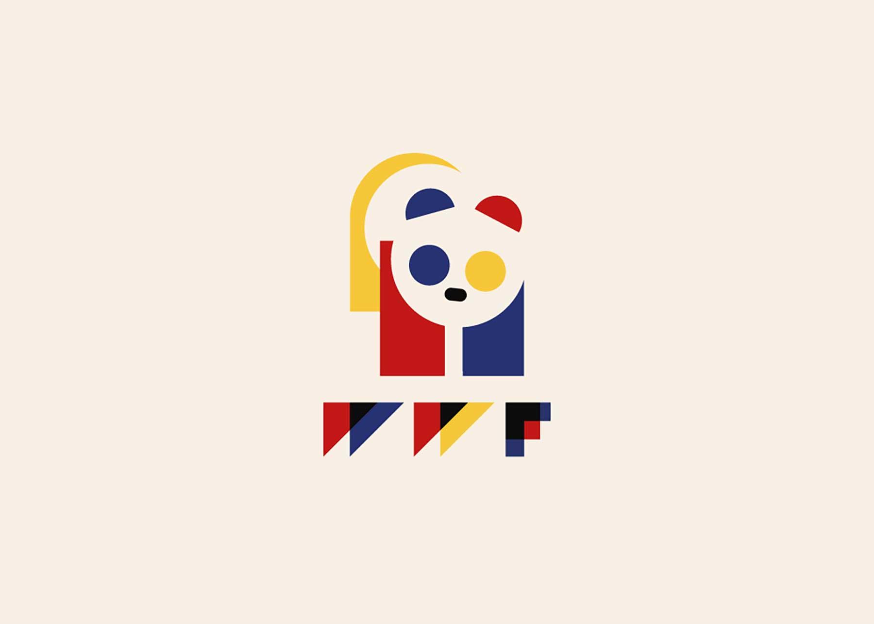 Bekannte Markenlogos im retrohaften Bauhaus-Design