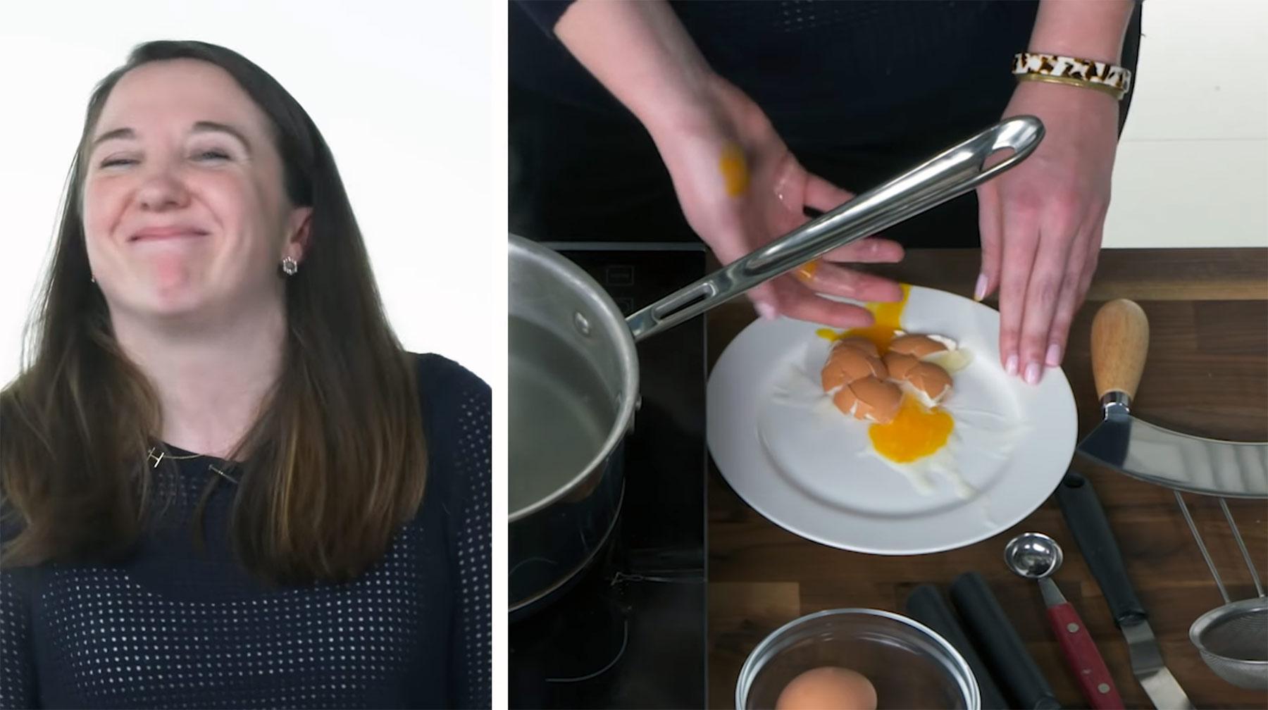 50 Leute versuchen, ein Ei zu pochieren