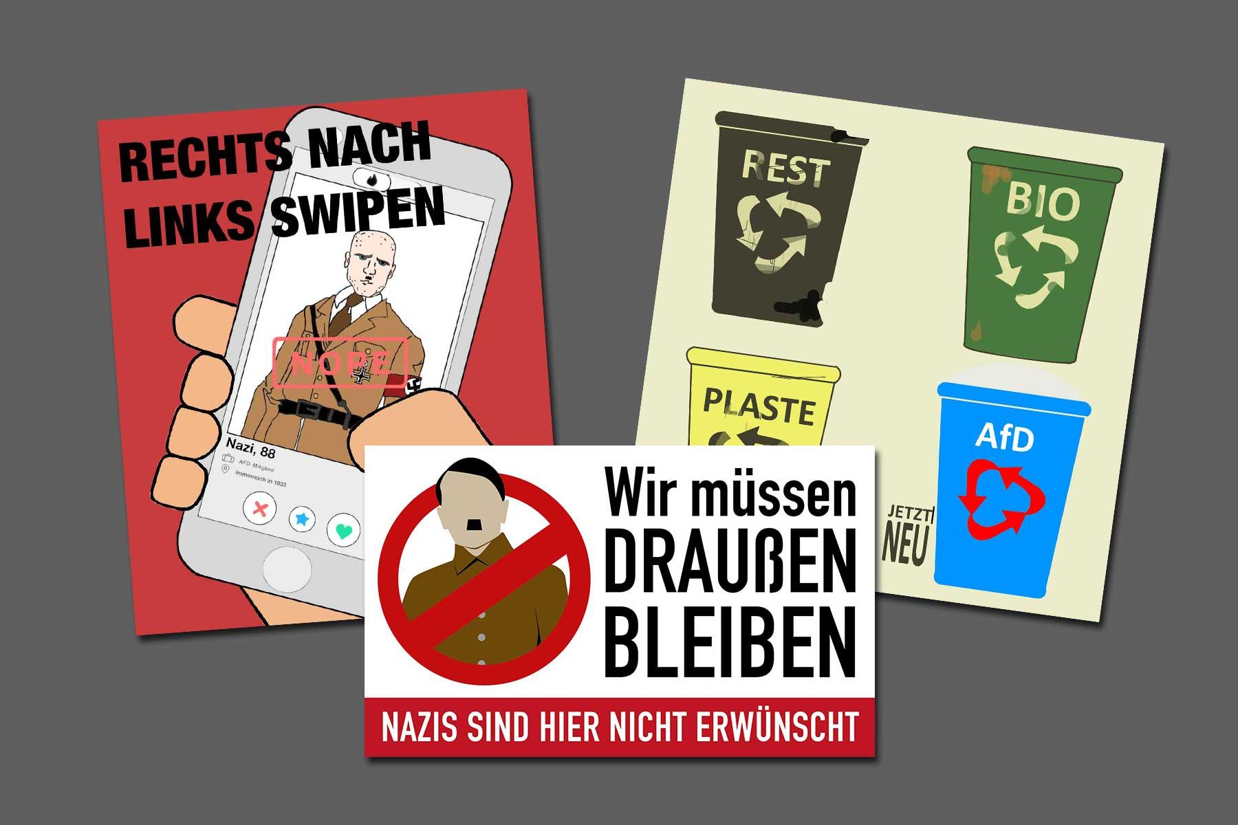 """""""Sticker gegen Rechts"""": Die Gewinner-Motive 2019"""