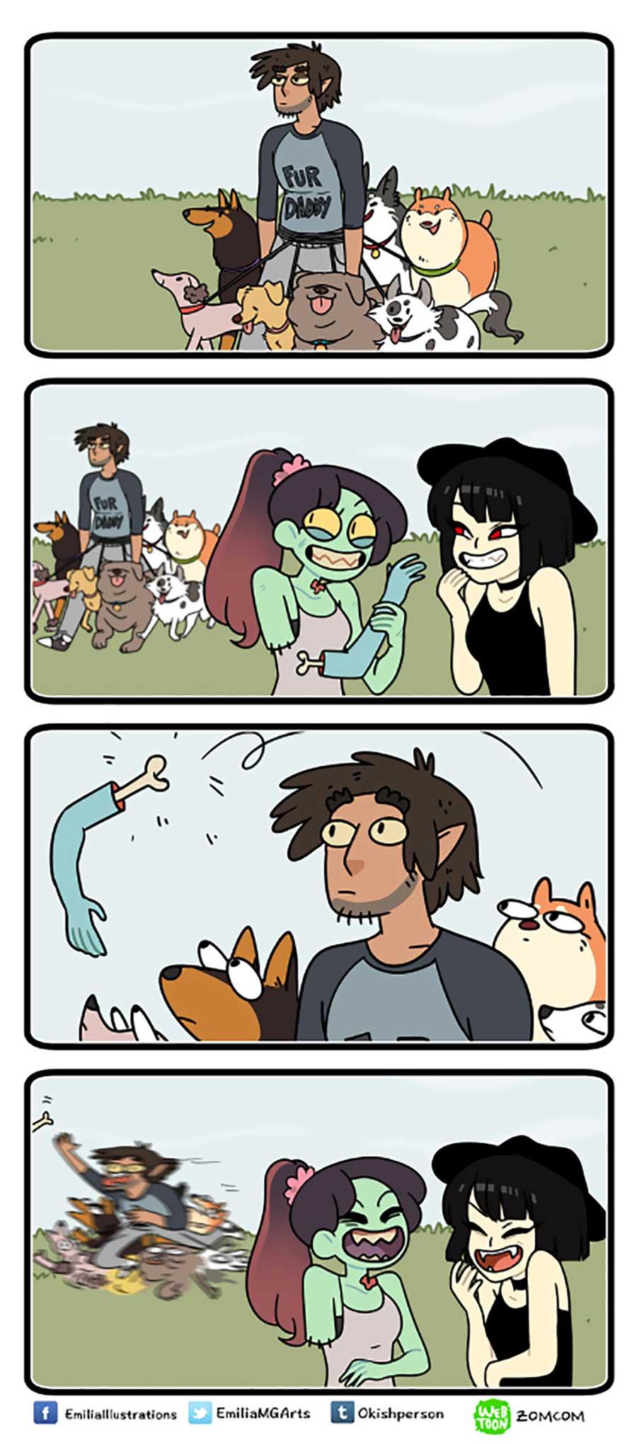 Wenn Zombie und Werwolf als Paar zusammenwohnen ZomCom-Webcomics_01