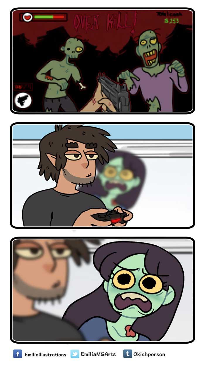 Wenn Zombie und Werwolf als Paar zusammenwohnen ZomCom-Webcomics_05