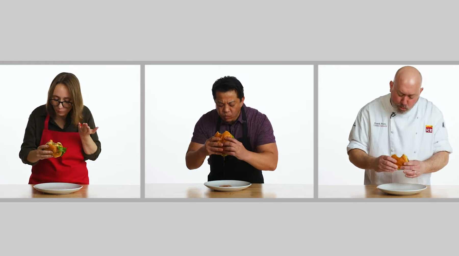 Köche unterschiedlicher Fähigkeitsstufen machen Hamburger burger-drei-stufen