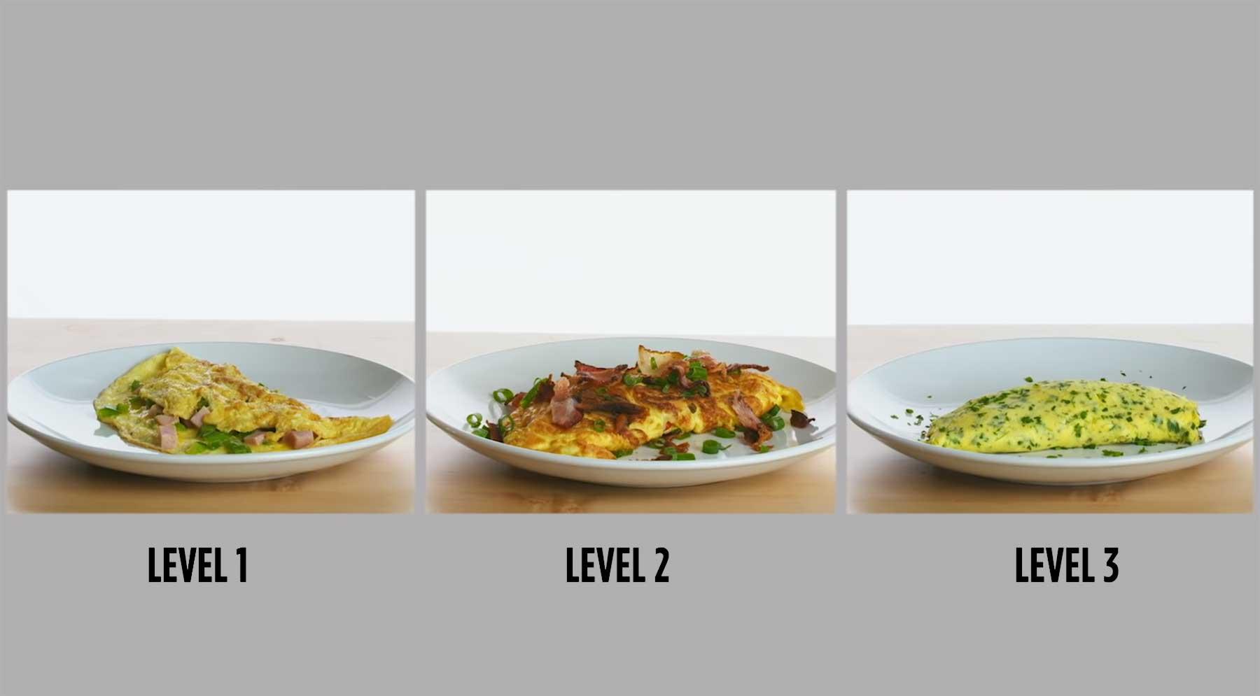 Köche unterschiedlicher Fähigkeitsstufen machen Omelette